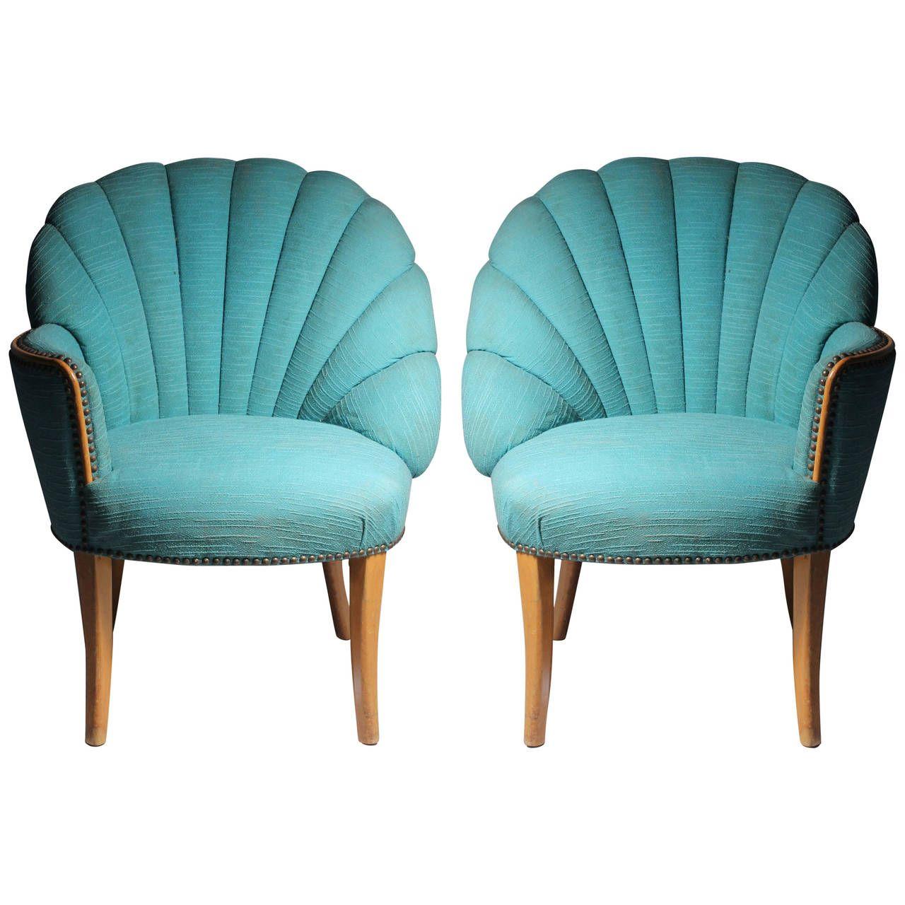 Vintage Asymmetrical Hollywood Regency FanBack Chairs