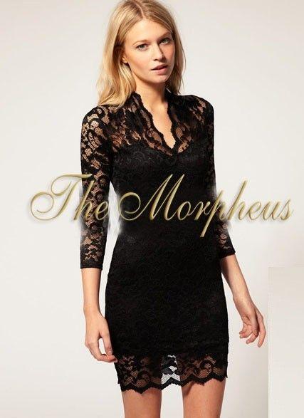 Morpheus Boutique  - Black Flora Lace V Neck 3/4 Sleeve Pencil Trendy Dress