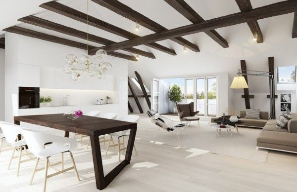 Living Room Exposed Ceiling Beams And Contrast Of Exposed Dark Wood With  White Chair And Lamp Also White Floor In Exposed Beams Living Room Design  Ideas
