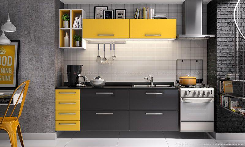 Cozinha Modulada Completa Selene Branco Amarelo Preto Brv Moveis