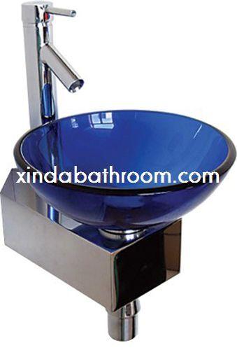 Corner Wash Basin Corner Vanity Sink Blue Vessel Sink Modern