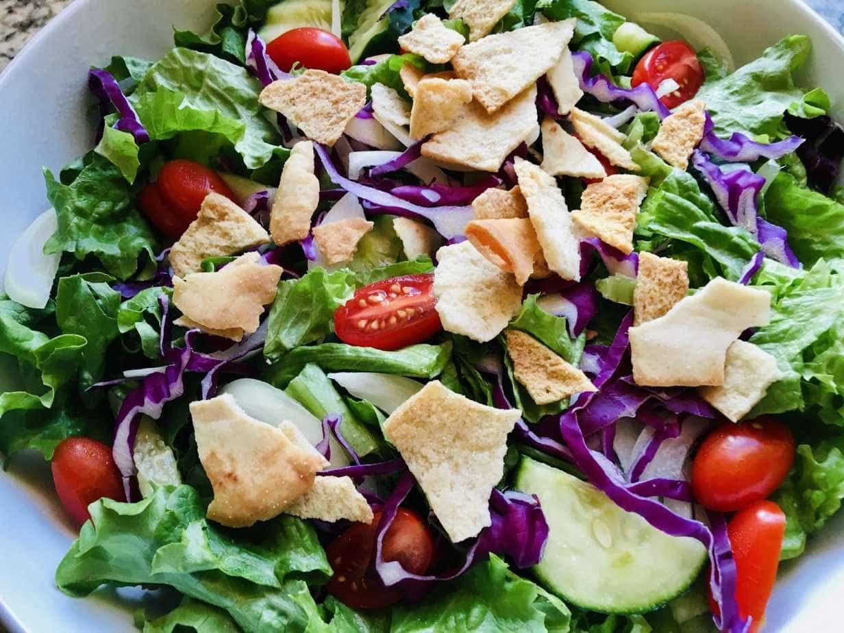 Fattoush Salad Recipe Fattoush Salad Salad Recipes Vegan Chicken Salad