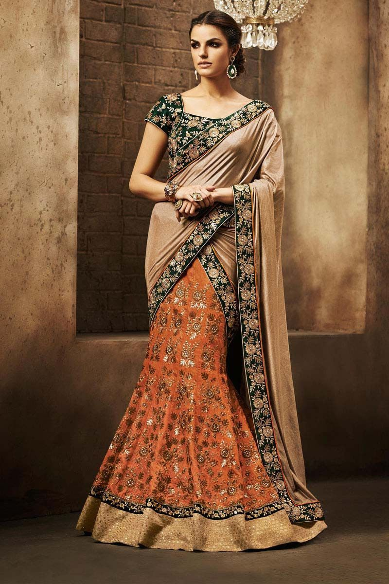 Lehenga saree for wedding bride orange bhagalpuri silk bridal lehenga saree  lehenga choli on
