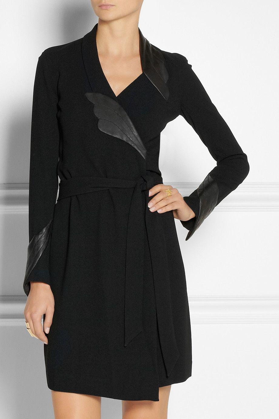Diane von Furstenberg|Glam leather-detailed crepe wrap dress|NET-A-PORTER