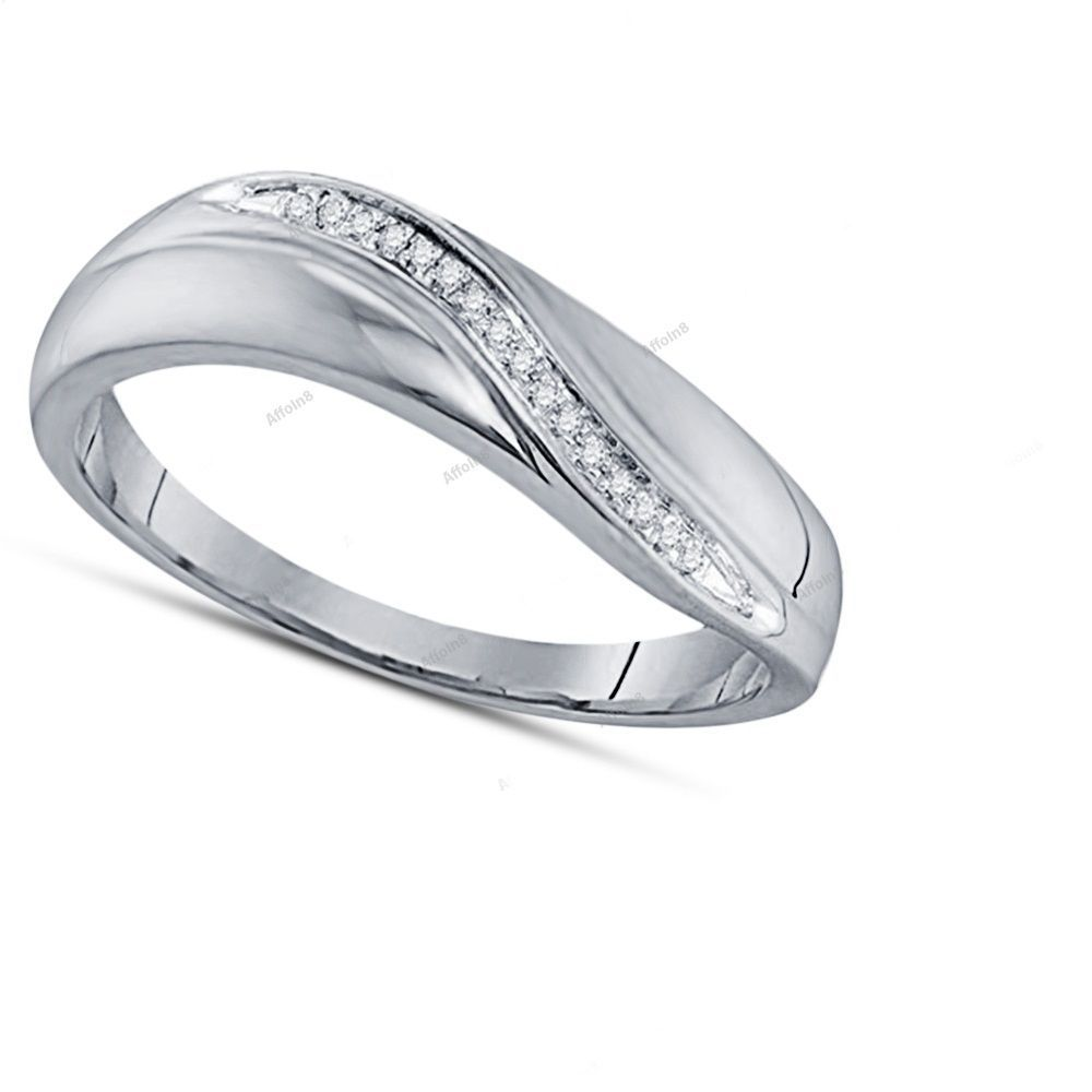 0.24CT Round Diamond 14k Silver Gold Mens Slant Band Ring 925 Silver Size 7-14 #affordablebridaljewelry #MensSlantBandRing #WeddingEngagementDailyWear