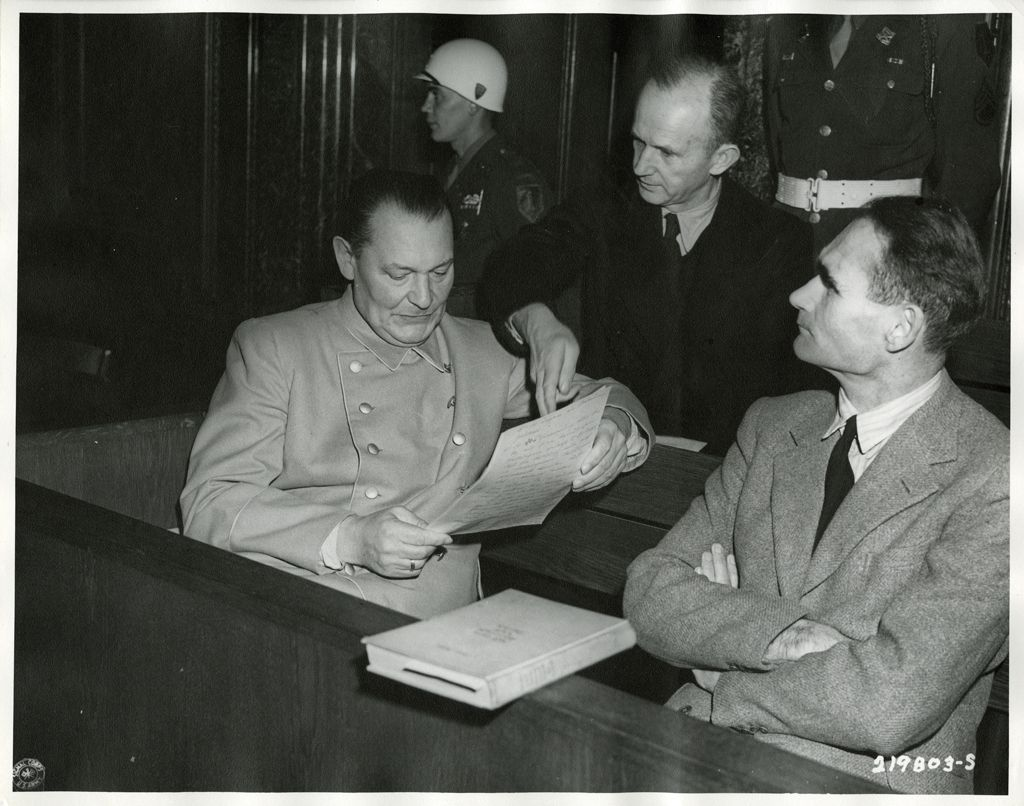 best images about hcc~nuremberg trials military tribunals on goering and admiral doenitz confer on a document while on trial at nuremberg rudolf hess
