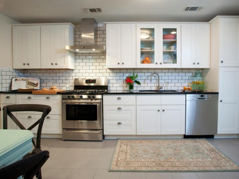 backsplash, Dress Your Kitchen Style Some White Subway Tiles Black ...