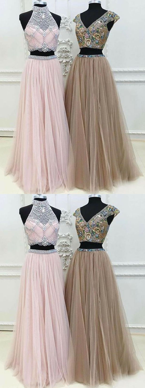 Two piece prom dress a line modest beautiful unique pink cheap long