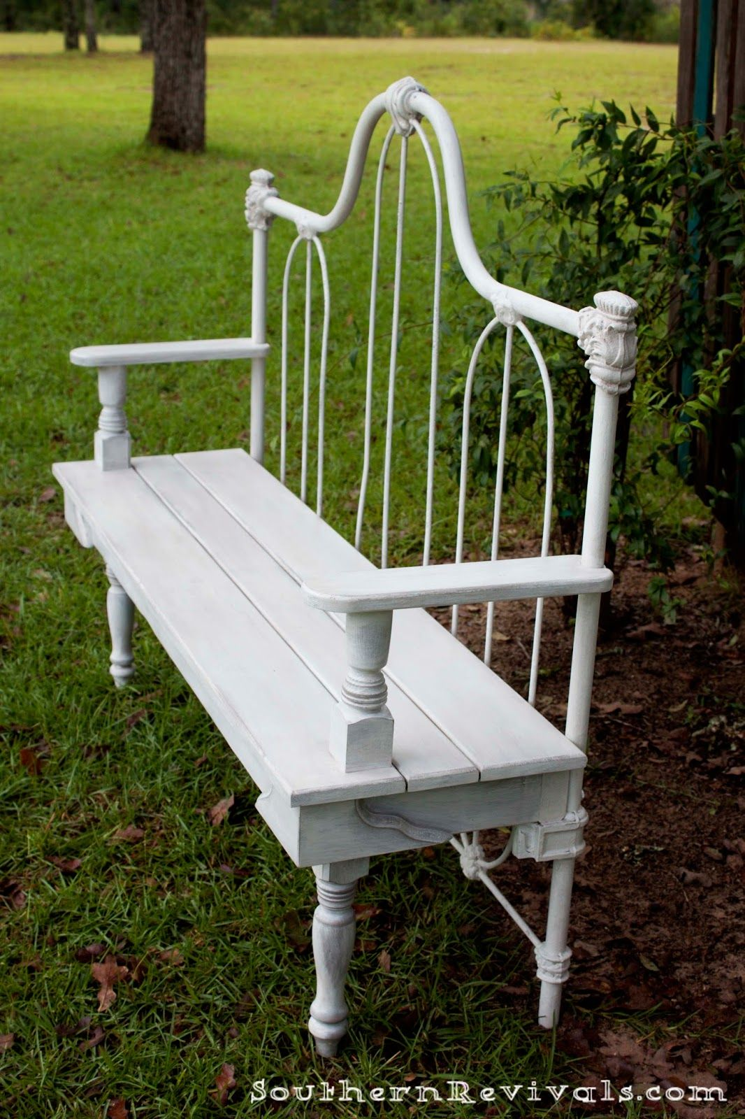 Antique Bed Stool: DIY Repurposed Metal Headboard Bench