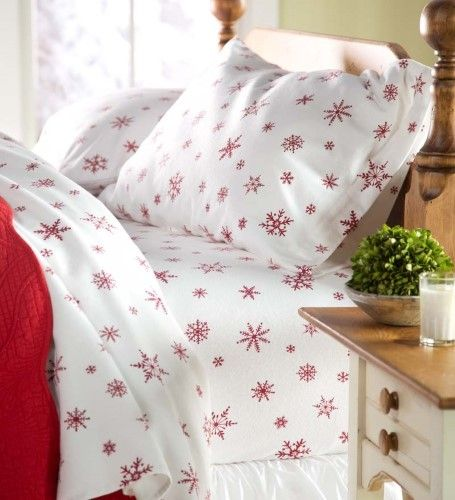 Christmas Sheets King.Crystal Snowflake Cotton Flannel Sheet Set King Size Red