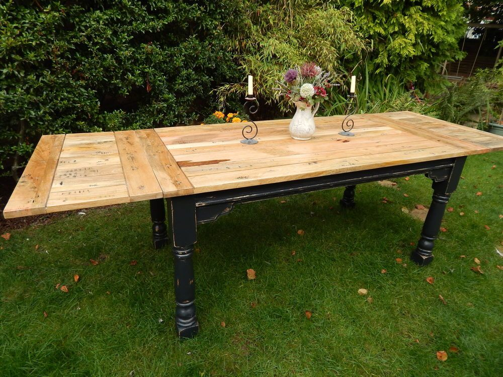 Large Shabby Chic Rustic Farmhouse OAK Kitchen Dining Table EXTENDING 8.5ft  in Home, Furniture