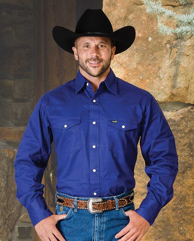 9c6b56997c Wrangler Premium Performance Royal Blue Cowboy Cut Twill Work Shirt - Western  Shirts - Men s with western yokes