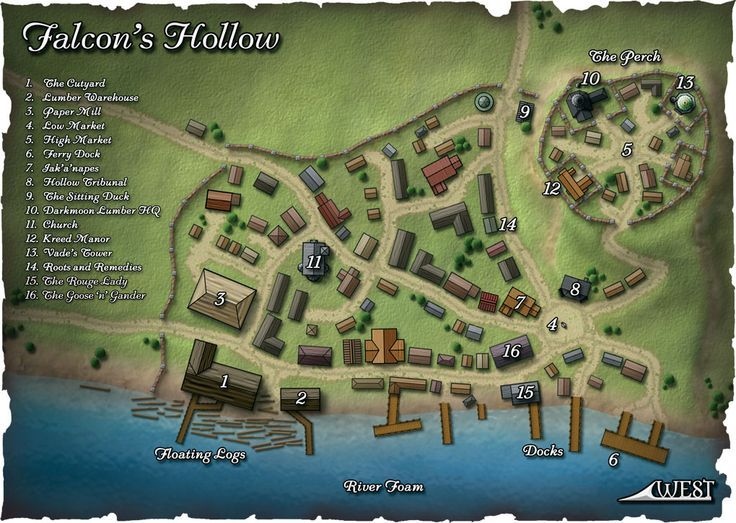 Another Map Of The Town Of Falcon S Hollow Pathfinder Golarion