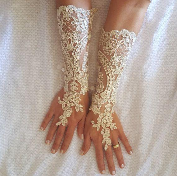 Photo of Long ivory or champagne gold   Wedding gloves  bridal finger…