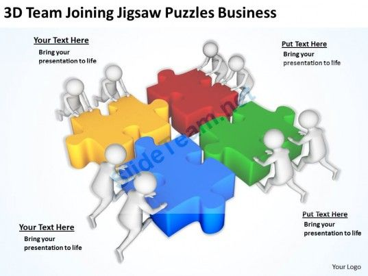 3d team joining jigsaw puzzles business ppt graphics icons, Modern powerpoint