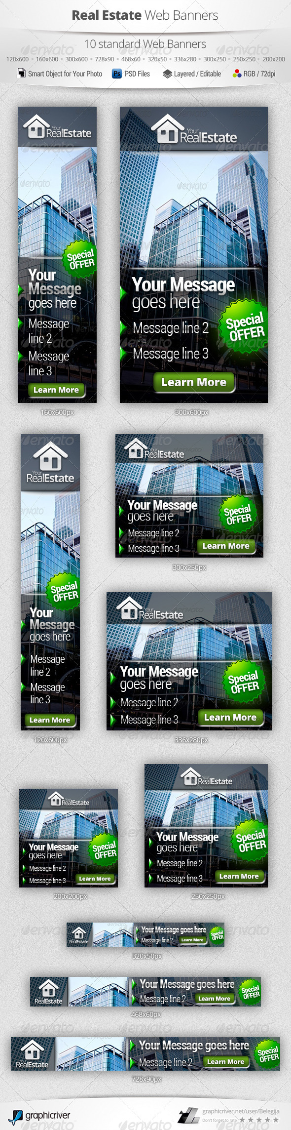 Real Estate Campaign Web Banners 3 Web Banner Banner Banner Template