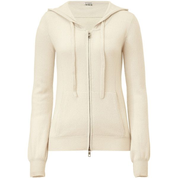 CLOSED Pale Sand Cashmere Knit Hoodie ❤ liked on Polyvore