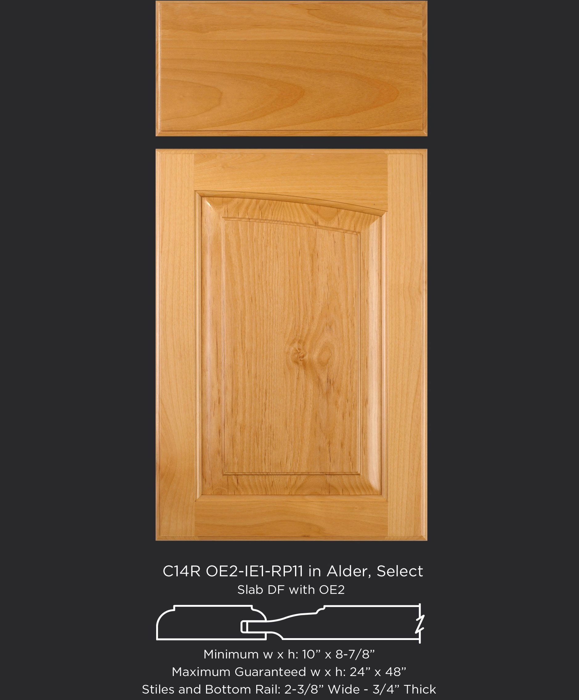 Eyebrow arch cabinet door with right arch in Alder by TaylorCraft