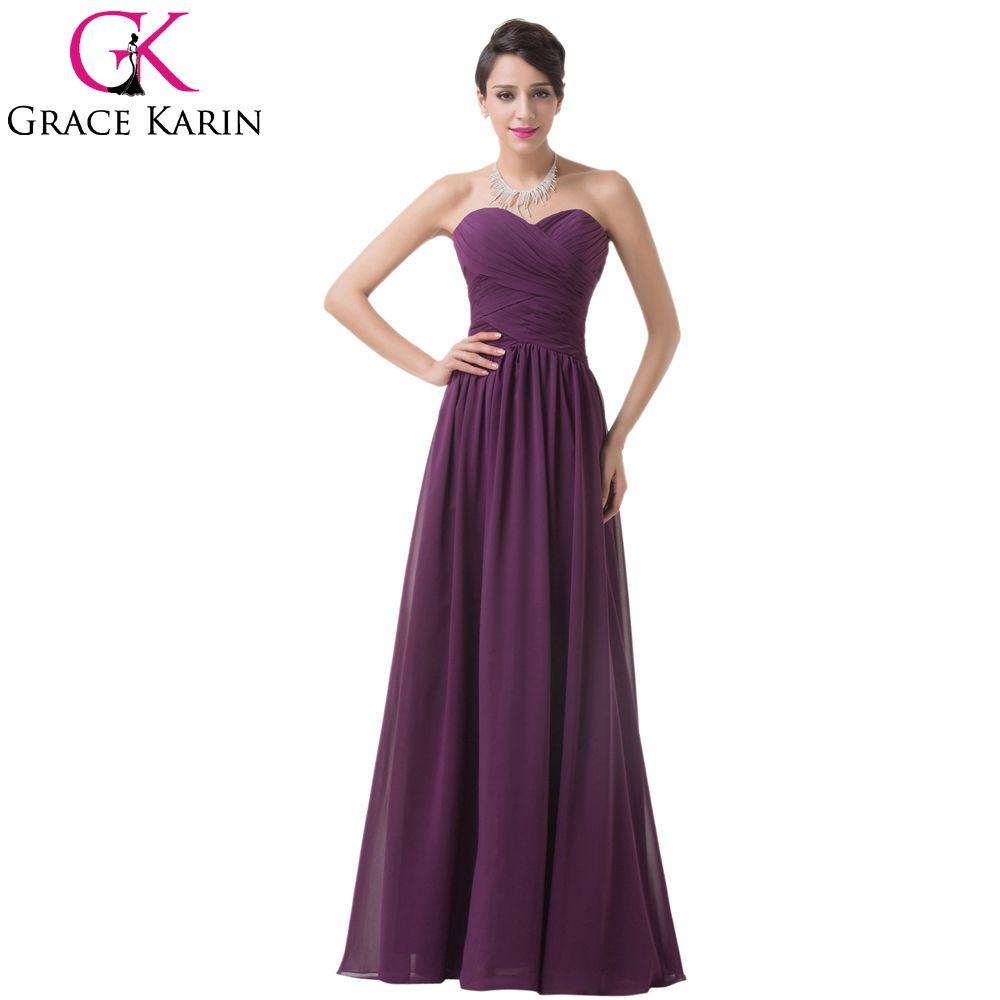 Grace Karin cheap Purple Bridesmaid dresses under 50,Chiffon Padded ...