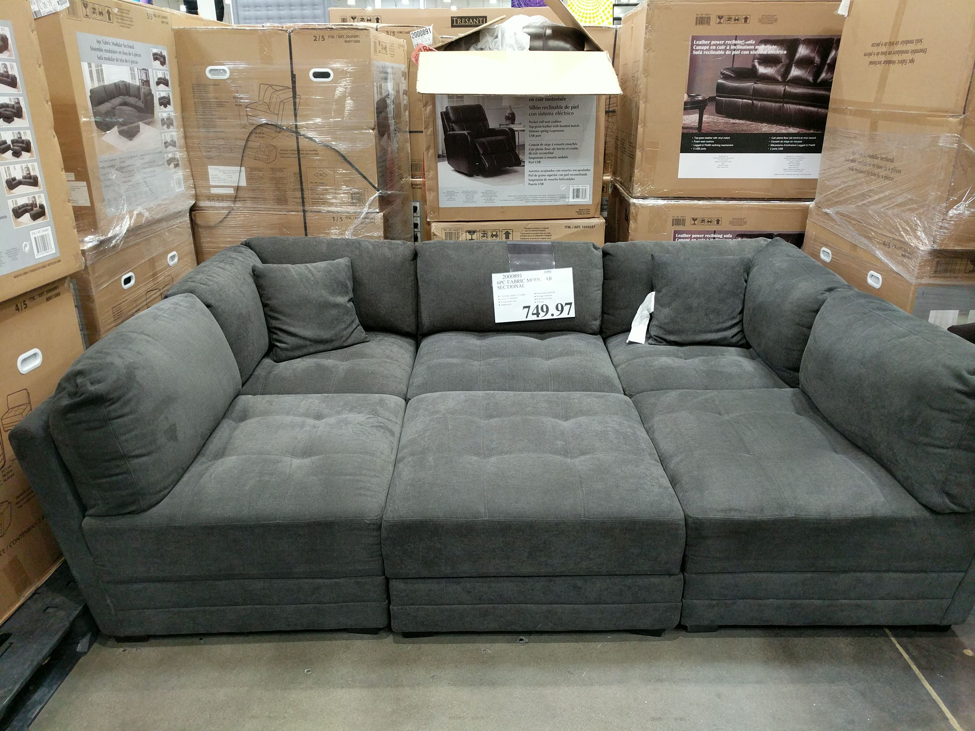 6 Piece Fabric Modular Sectional 749 97 Costco Clearance