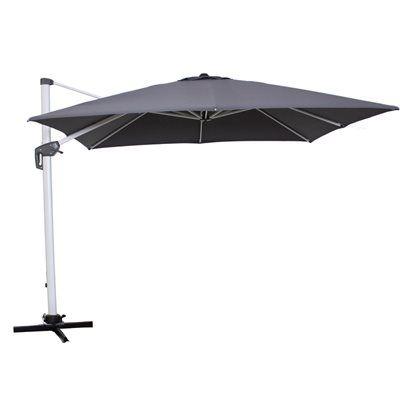 Allen + Roth 12 Ft X 10 Ft Grey Rectangular Offset Umbrella With Crank