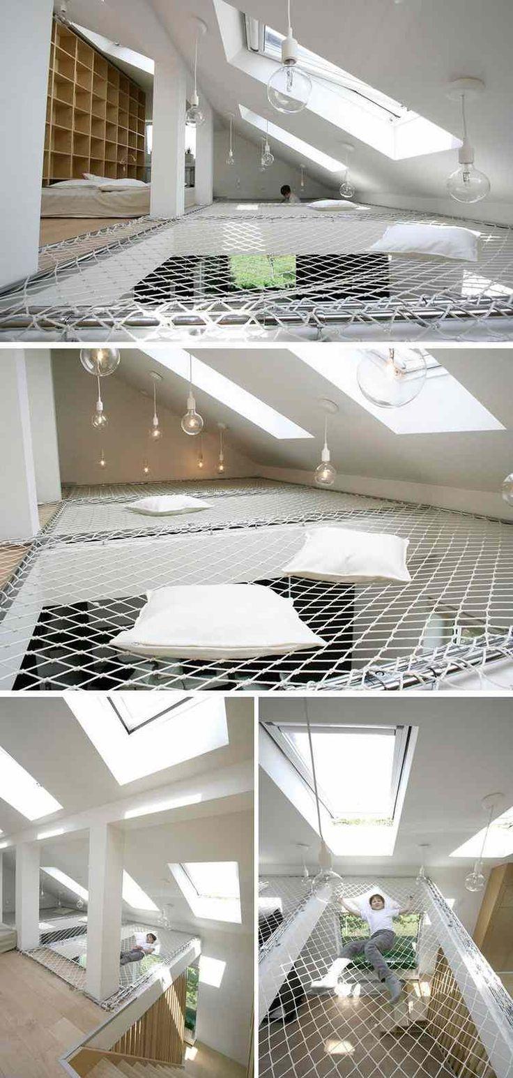 filet d & amp; Wohnen idées-aménagement-moderne-mezzanine ...