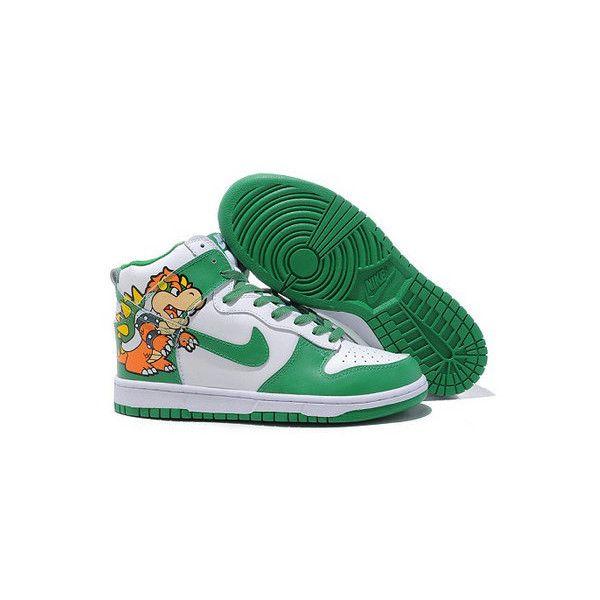 7ac69b7b83ae Purchase Boswer King Koopa Nike Dunks Super Mario Nike High Tops Shoes...  via Polyvore