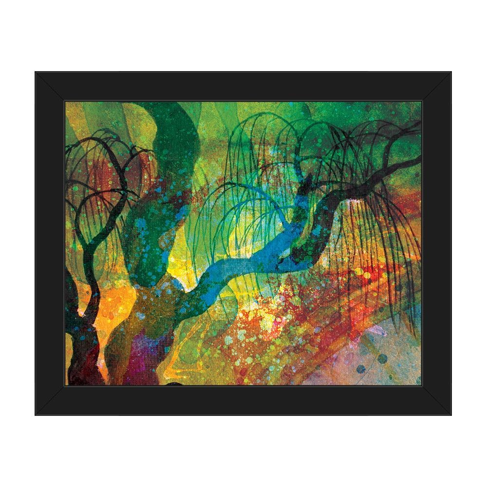 'Willowing Amber Silhouette' Framed Canvas Wall Art
