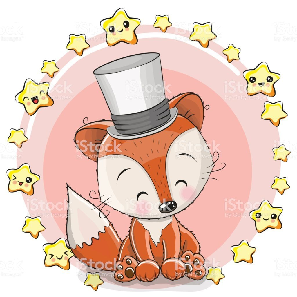Greeting card Cute Cartoon Fox with stars animals