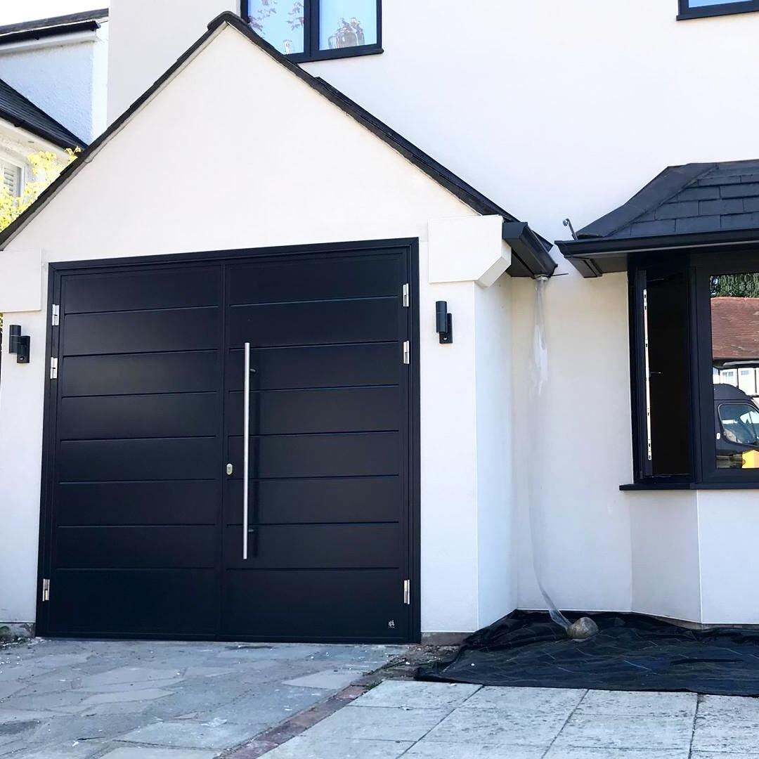 Modern Side Hung Garage Door Made To Order In Ral9005 Black Matt Finish Garage Doors 9x7 Garage Door Side Hinged Garage Doors