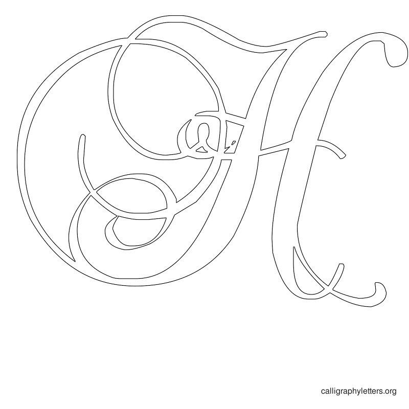 Calligraphy letter stencil h fonts fancy