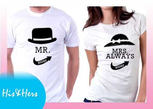 >>MR RIGHT & AND MRS ALWAYS RIGHT   Gift for boyfriend / girlfriend? our Couple shirts at our Introductory price! For inquiries & Customization, Message us on FB for further details.  :) https://www.facebook.com/HisAndHersWear #coupleshirt #coupletee #Tshirt #Tee #Love #Customize #Mine #couple #girl #boy #girlfriend #boyfriend #heart #MR #MRS