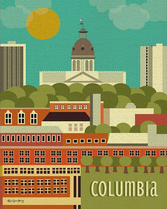 Columbia SC Skyline Print, Columbia sc art, Columbia SC Capitol Wall ...