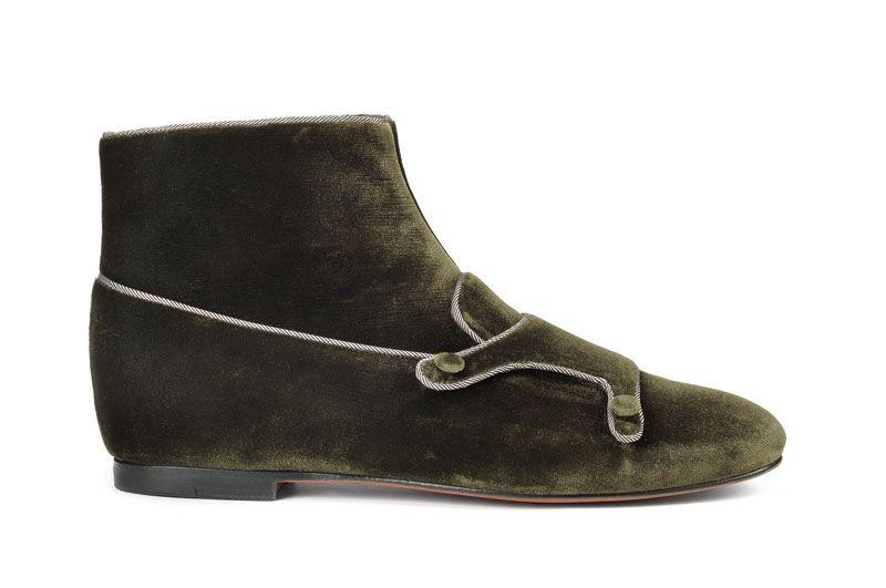 Santoni | double buckle ankle boot in velvet #fw1415 #woman #ankleboot #doublebuckle