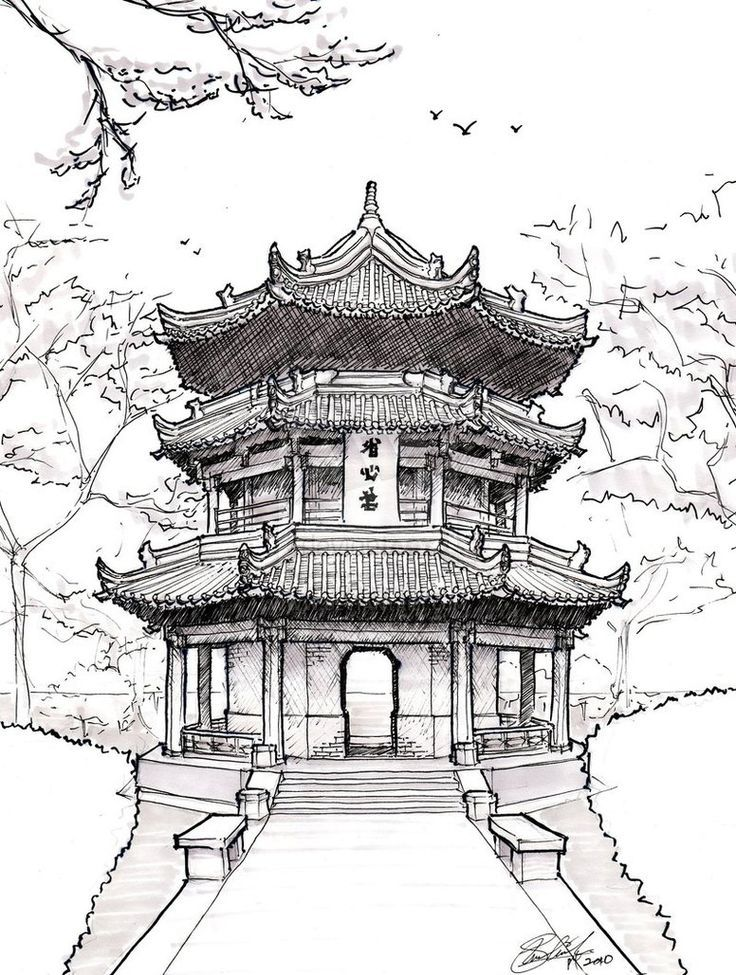 Famous japanese temples drawings google search art for Chinese architecture house design