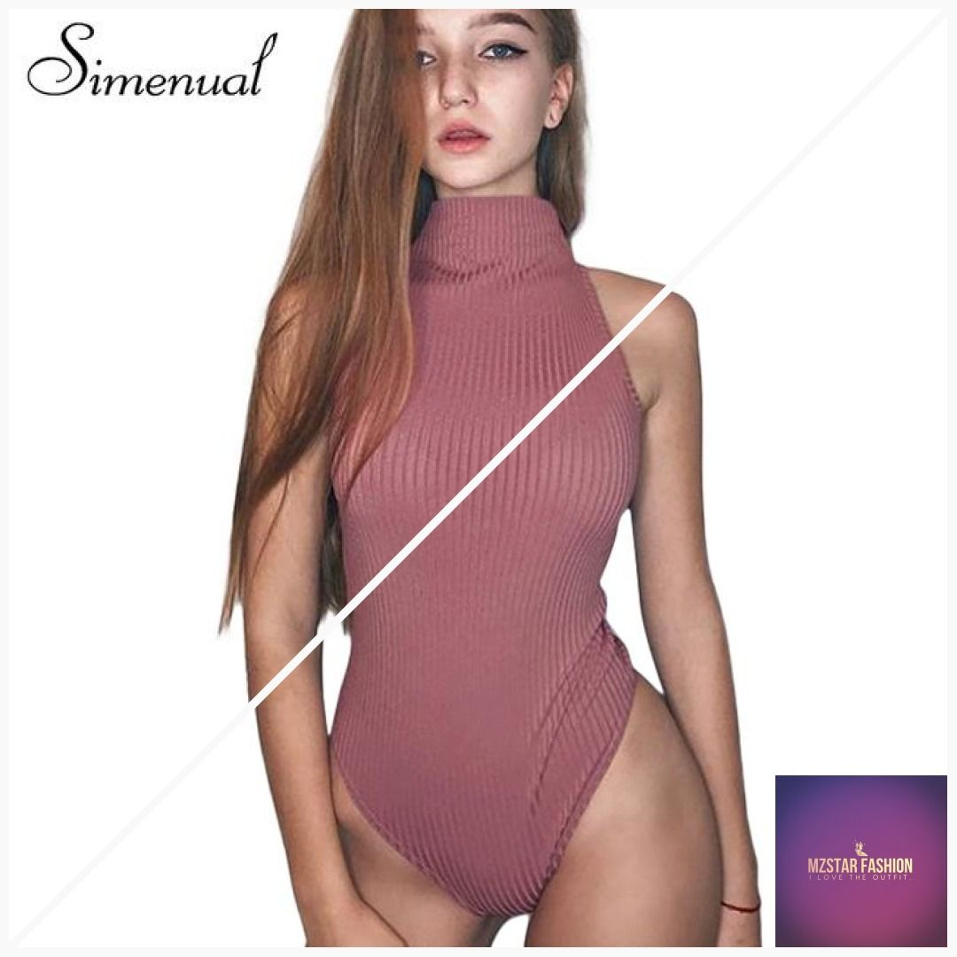a160a30db1 Simenual Sexy velvet bodysuit turtlenecks sleevless pink fitness body for  women jumpsuits 2018 summer bandage velour