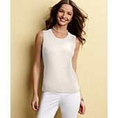 Charter Club Petite Sweater, Sleevelees Shell Scoop Neck