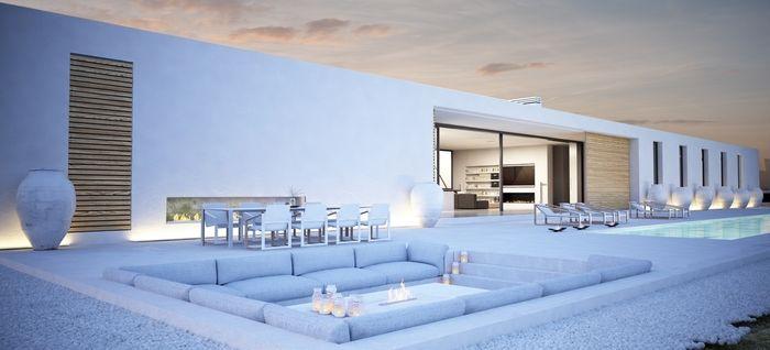 Terraza chill out con piscina dream home home living for Casa minimalista con alberca