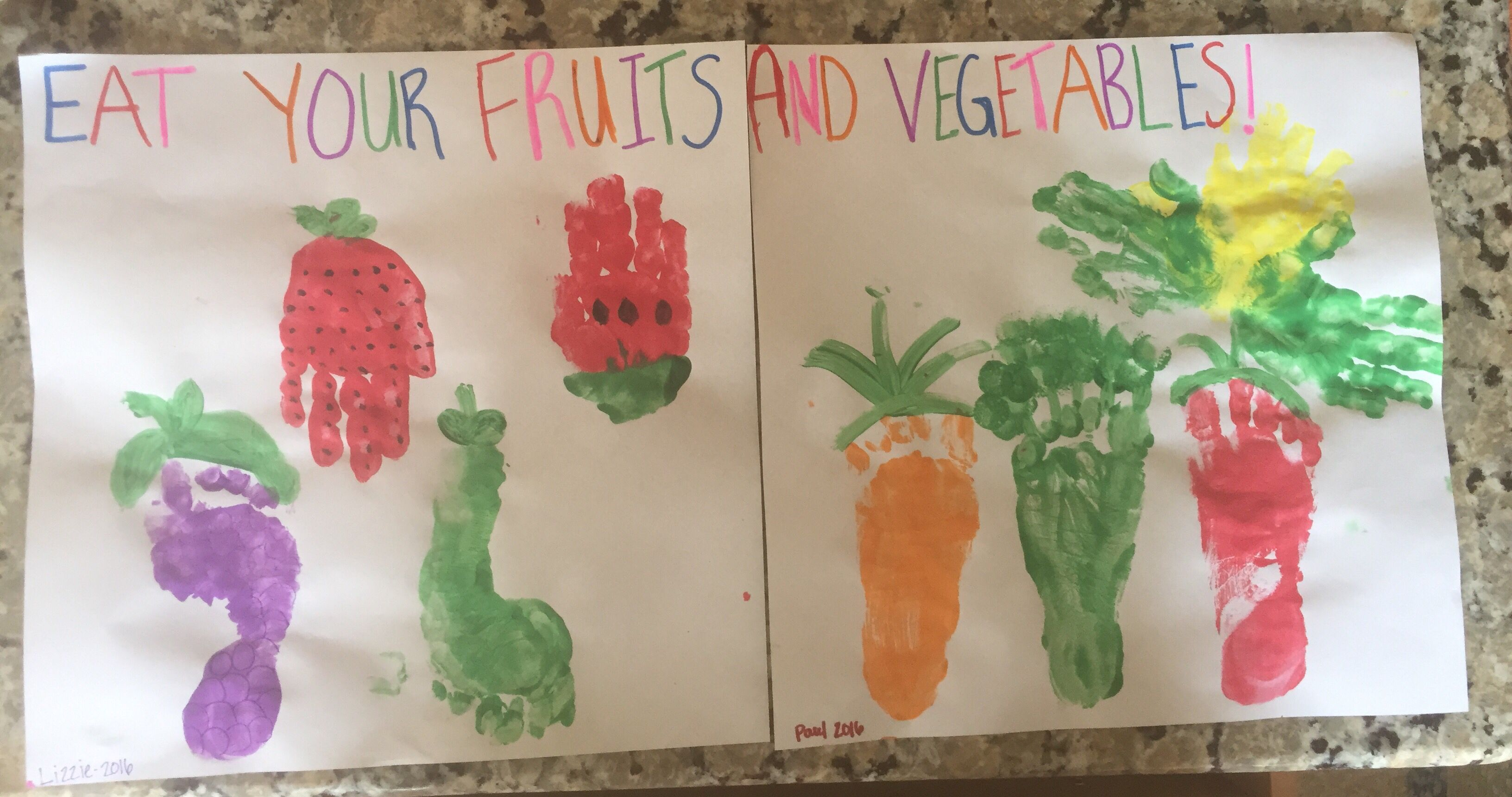 Fruits And Vegetables Handprints Craft
