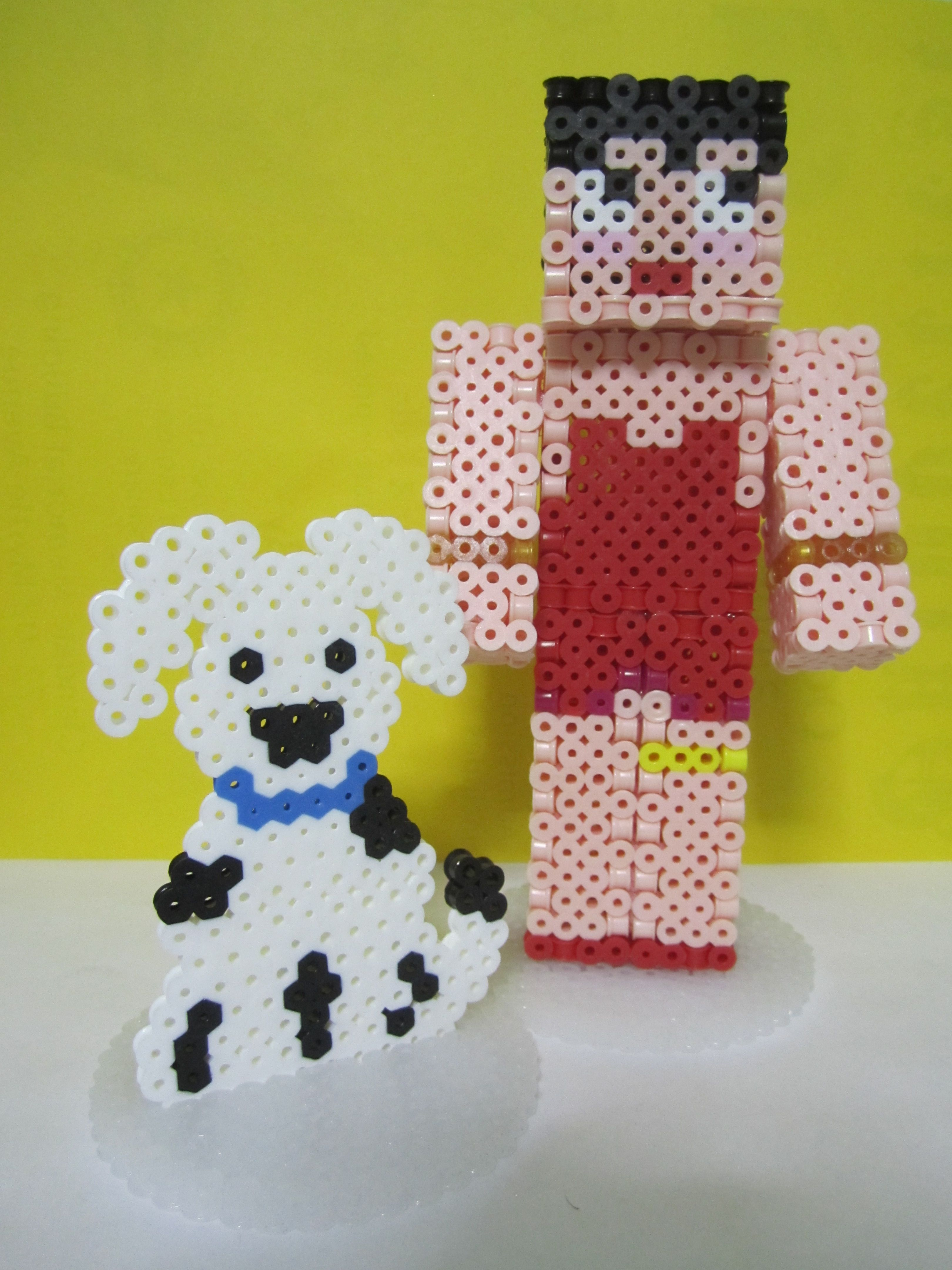 Betty Boop with Pudgy Minecraft Skin 3D_Perler Beads