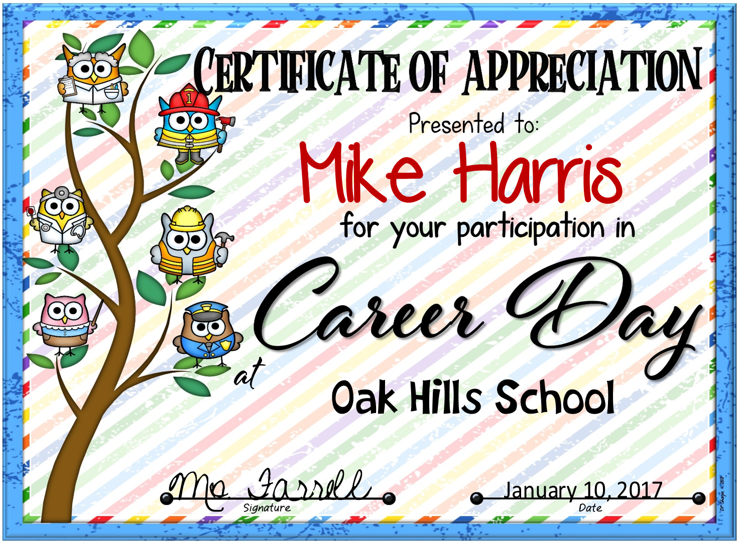 Career day certificate with candy bar wrappers and note cards career day fillable certificate yadclub Image collections