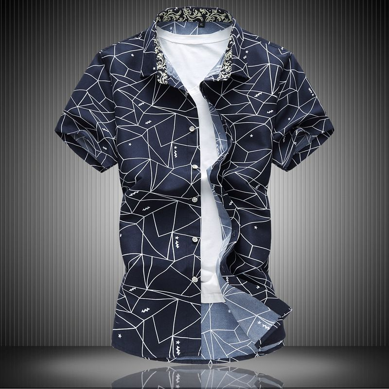 656a9817cb6 Click to Buy    Plus Size 7XL 2017 New Summer Casual Shirts Geometric Print  Brand Clothing Short Sleeve Men Business Dress Office Shirt Camisa   Affiliate