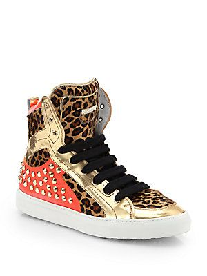 568cd3455a28 DSQUARED Leopard-Print Pony Hair Studded High-Top Sneakers | The ...