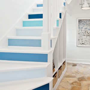 Cottage Style Staircase With Risers Painted Variations Of Blue, Paint Ideas  For Stair Risers