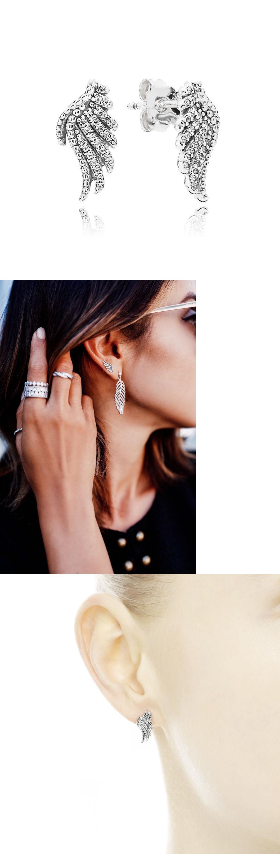 b284c4bb3 Earrings 50647: Authentic Pandora 925 Silver Majestic Feathers Stud Earrings  Clear Cz #290581Cz -> BUY IT NOW ONLY: $36 on eBay!