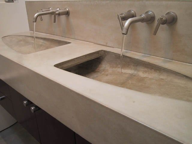 Modern Double Sink Concrete Sinks Dewulf Concrete Santa Monica