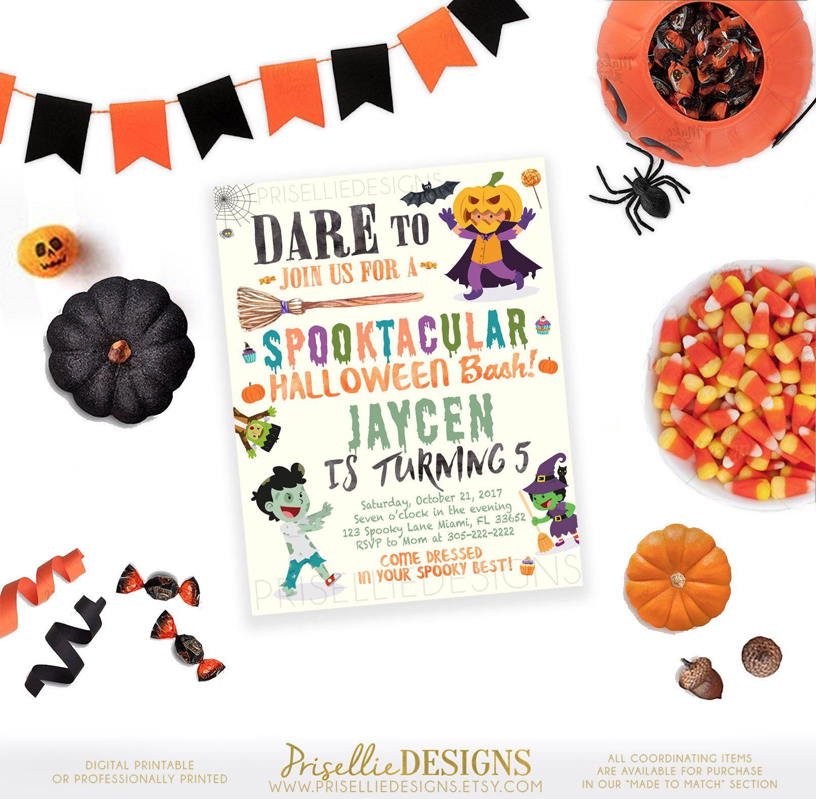 Kids Halloween Party Invitation, Halloween Birthday Invitation Kids ...