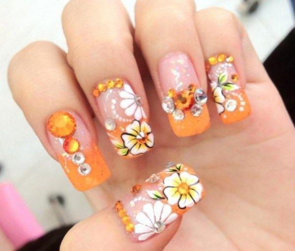 Orange Flower Nail Art Top 10 Flower Nail Designs Pinterest