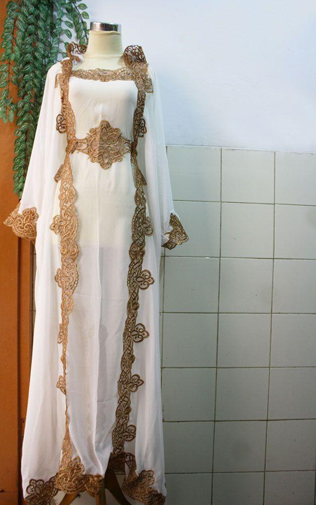 Cute White Moroccan Caftan Hoodie Sheer Chiffon Fancy FULL Gold Embroidery Abaya Dubai Maxi Dress farasha Hijab Style Jalabiya. $66.66, via Etsy.
