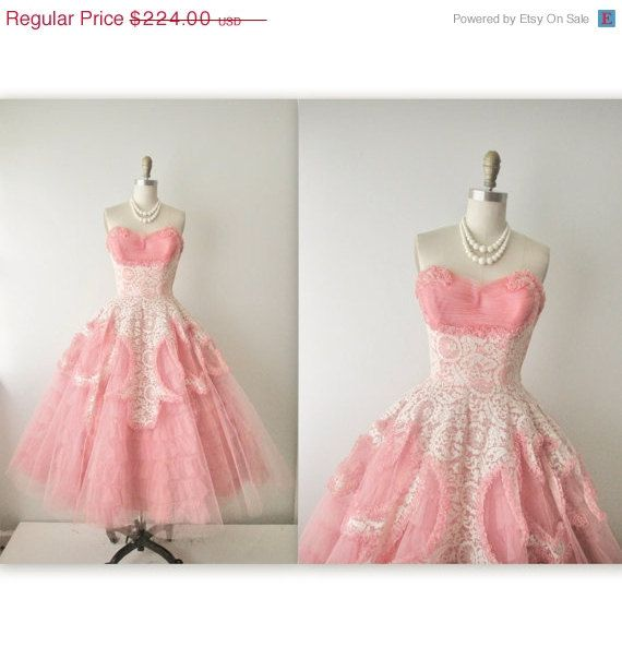 50s Prom Dress // Vintage 1950s Coral Tulle Lace Strapless Wedding ...